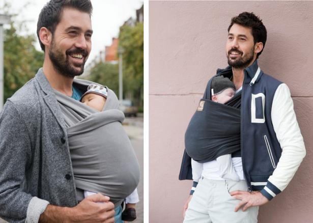 écharpe de portage bébé et papa