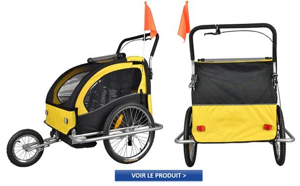 Remorque à Vélo 2 en 1 pour enfants noir et jaune à 99,90€