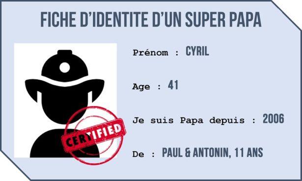 Fiche d'identité d'un Papa-Pompier, Cyril