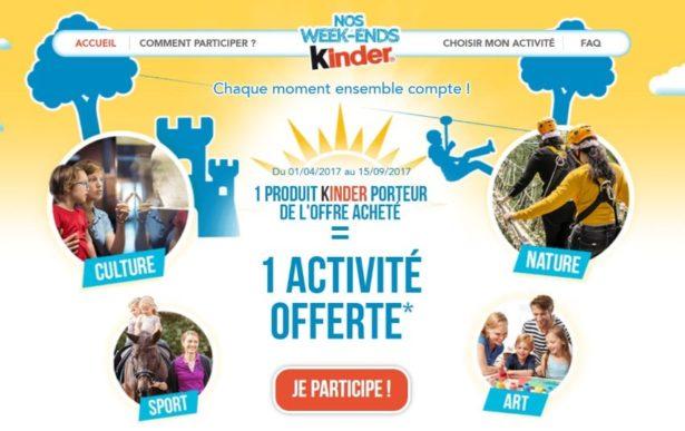 Gagnez des activités en famille avec Kinder