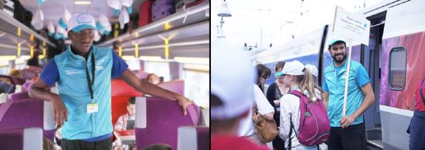 Des animateurs dans le train pour JUNIOR & Cie