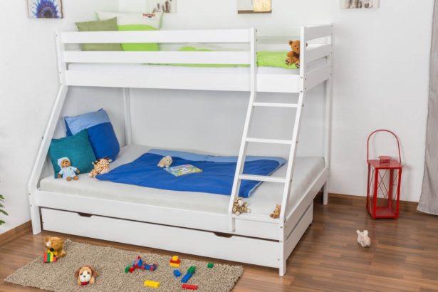 Lit superposé avec coffre de rangement - Parfait pour organiser sa chambre - comment aménager la chambre de nos enfants