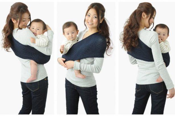 Un Porte-bébé écharpe à mettre sur l'épaule et en maille ultra résistante