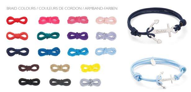 Choisissez la couleur des cordons pour votre Duo Ancre Papa-Enfant